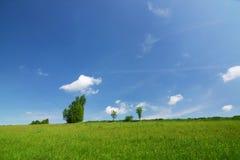 Groen gebied, blauwe hemel en witte wolken stock fotografie