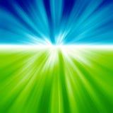 Groen gebied en blauwe hemel stock illustratie