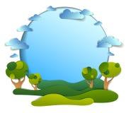 Groen gebieden en bomen toneellandschap van de zomer met wolken in de hemel, kaderachtergrond met exemplaarruimte, document besno stock illustratie