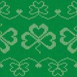 Groen gebreid klavers naadloos patroon Stock Afbeelding