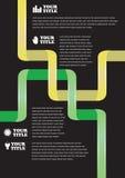 Groen Geel het Draaien Lint op Zwart Vectorontwerp Als achtergrond Stock Foto's