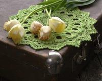 Groen gehaakt servet, tulpen stock foto