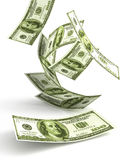 Groen Geld dat 3d valt Stock Afbeelding