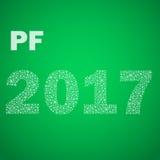 Groen gelukkig nieuw jaar pf 2017 van kleine sneeuwvlokken eps10 Stock Foto