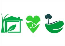 Groen gezond huis Stock Afbeeldingen