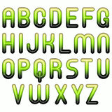 Groen glanzend glanzend 3d bellenalfabet Royalty-vrije Stock Afbeelding