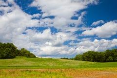 Groen gras en blauwe hemel met wolken Royalty-vrije Stock Afbeeldingen