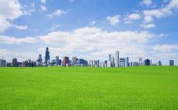 Groen gras en de stad in Stock Foto