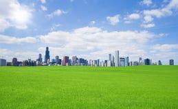 Groen gras en de stad in Royalty-vrije Stock Afbeelding