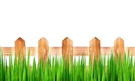 Groen gras en houten omheining Royalty-vrije Stock Afbeelding