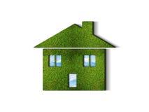 Groen grasHUIS Stock Foto