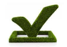 Groen grasssy vinkjesymbool in de cirkel op witte achtergrond Royalty-vrije Stock Fotografie
