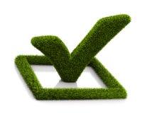 Groen grasssy vinkjesymbool in de cirkel op witte achtergrond Stock Afbeelding