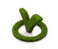 Groen grasssy vinkjesymbool in de cirkel op witte achtergrond Stock Foto's