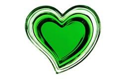 Groen hart dat op witte achtergrond wordt geïsoleerd Stock Afbeeldingen