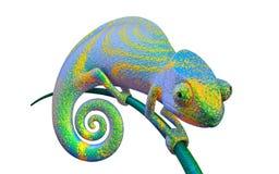 Groen helder kameleon op een tak, het 3d teruggeven vector illustratie
