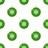 Groen het Pictogram Naadloos Patroon van de Kerstmisbal Royalty-vrije Stock Afbeeldingen