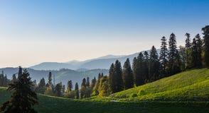 Groen heuvels en bergen panoramisch landschap Royalty-vrije Stock Afbeelding