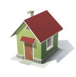 Groen huis met rood dak Stock Afbeelding