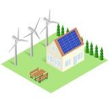 Groen huisconcept De isometrische Eco-Bouw Royalty-vrije Stock Foto's
