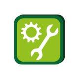 Groen kader met pignon en moersleutel royalty-vrije illustratie