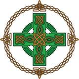 Groen Keltisch kruis Stock Afbeelding