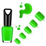 Groen kleurennagellak, borstel, steekproef Royalty-vrije Stock Afbeeldingen