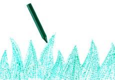 Groen kleurpotlood met getrokken gras Stock Afbeeldingen