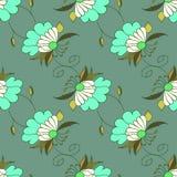 Groen kleurrijk hand getrokken naadloos patroon met bloemen Royalty-vrije Stock Fotografie