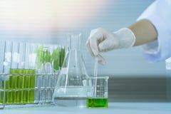 Groen kruiden de ontdekkingsvaccin van het geneeskundeonderzoek bij wetenschapslaboratorium Stock Afbeelding