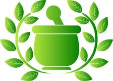 Groen kruidenembleem royalty-vrije illustratie