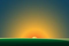 Groen landschap met zonsondergang Vector illustratie EPS10 royalty-vrije illustratie