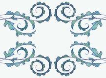 Groen-lineair-ornament-lichte illustratie-kunst-patroon-mooi-decor-installaties - achtergrond-trekkend royalty-vrije illustratie