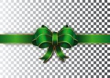 Groen lint met een boog op een transparante achtergrond Royalty-vrije Stock Foto