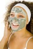 Groen masker op gezicht royalty-vrije stock afbeelding