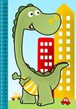 Groen monsterbeeldverhaal in stad vector illustratie