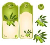 Groen olijfetiket Stock Fotografie