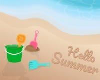Groen oranje roze blauw Strandstuk speelgoed op het strand Hello-de Zomer op het zand met de blauwe toon van golf Illustratie Vec Stock Afbeelding