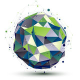 Groen orbed ingewikkeld netwerkcijfer, bouw Stock Foto