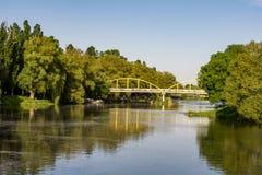 Groen park met bomen en rivier Zonnige vakantie stock fotografie