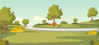 Groen park met gras en bomen Stock Foto