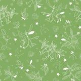 Groen patroon met roze plant en dieren vector illustratie