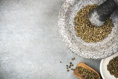 Groen peperbollenzaad in granietmortier of stamper stock afbeelding