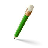Groen potlood met gom Royalty-vrije Stock Afbeelding