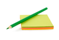 Groen potlood op papier Stock Foto
