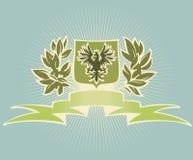 Groen schild met adelaar Stock Afbeelding
