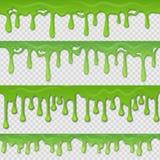 Groen slijm naadloos patroon De realistische gifstof ploeteren en de elementen van de vlekplons die op wit worden geïsoleerd Vect stock illustratie
