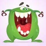 Groen slijmerig monster met grote tanden en wijd geopende mond Vector het monsterkarakter van Halloween Geïsoleerde beeldverhaal  Stock Foto's