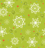 Groen sneeuwvlokken naadloos patroon Royalty-vrije Stock Foto