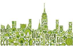 Groen stadssilhouet met milieupictogrammen Royalty-vrije Stock Foto's